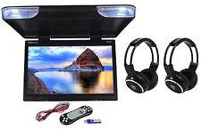 "Rockville RVM25FD-BK 25"" Black Flip Down Monitor w/ USB/SD+Wireless Headphones"