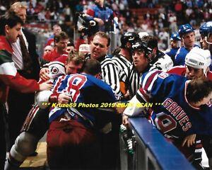 finest selection 5ac23 e6eed Details about TIE DOMI & SCOTT STEVENS Fight On BENCH 8x10 Photo NY RANGERS  vs NJ DEVILS~BRAWL