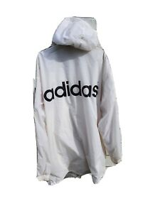 Vintage Adidas Hooded Jacket White Mens Size 42 44 Xl Ebay