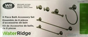 6PC-Water-Ridge-brushed-nickel-Bathroom-Accessory-Set-High-Quality-Brand-new