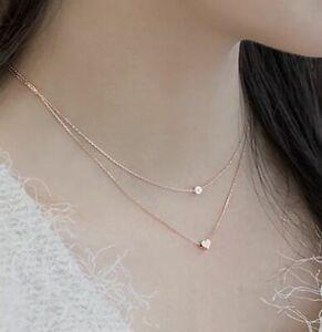 Halskette-Anhaenger-925-Rosegold-Doppelkette-Perle-Herz-Love-Gebuerstet-Neu