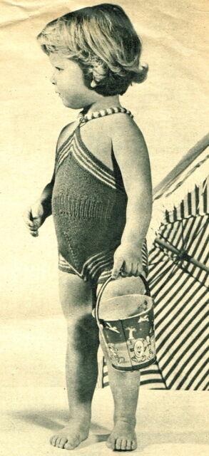 Vintage Knitting Pattern 1950 S Toddler Girls Swimsuit Swimming