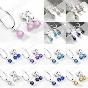 Women-Zircon-Crystal-Earring-Pendant-Necklace-Jewelry-Set-Drop-Wedding-Jewelry