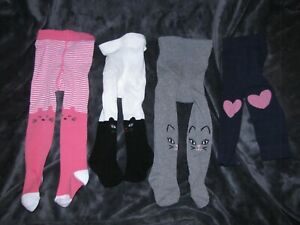 5be386fd3 BABY GIRL 6-12 TIGHTS LOT CAT STRIPE CARTERS OLD NAVY GYMBOREE HEART ...