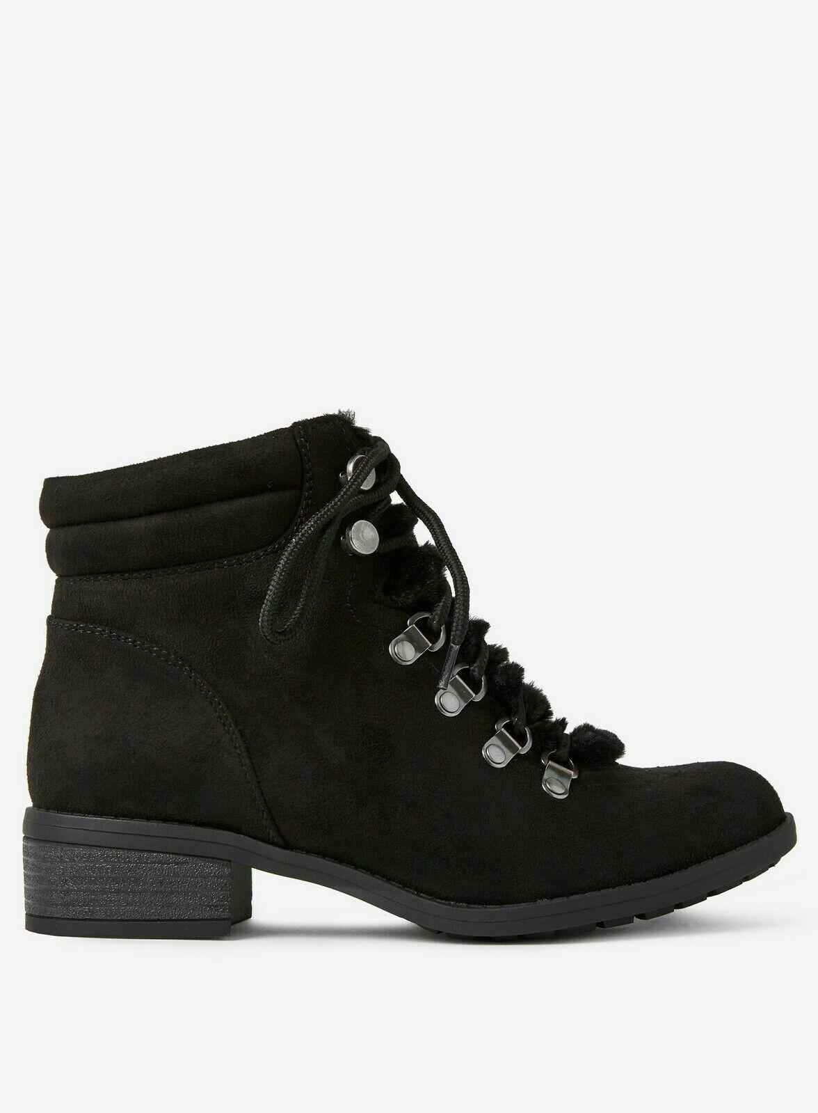 T1 73 Dgoldthy Perkins Wide Fit Black 'Abbie' Lace Up Ankle Boots Women's UK 7