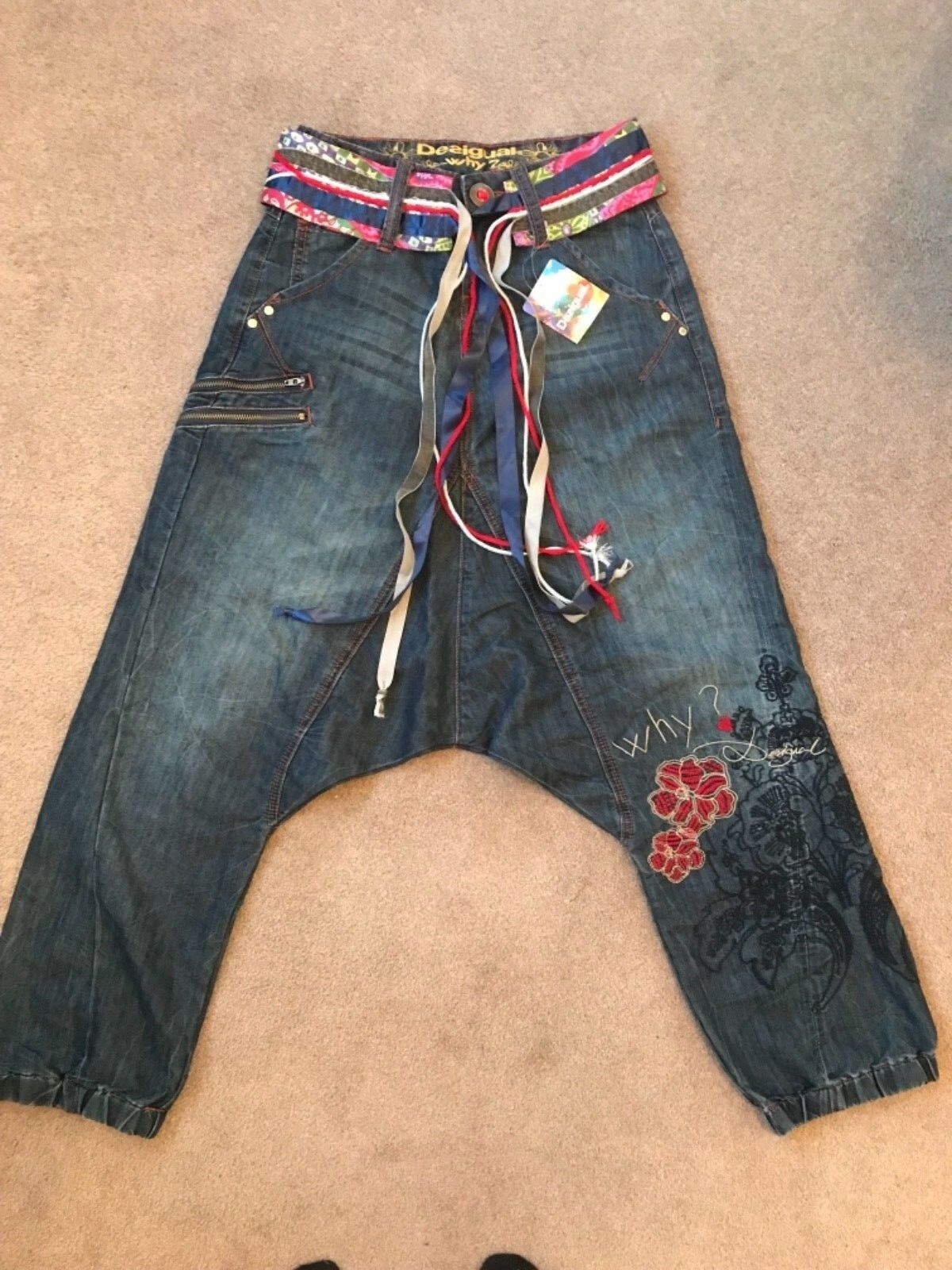 "Fabulous Desigual Denim-Mary Jeans, Great Embroidery, Waist 26"" to 28"", NWT"