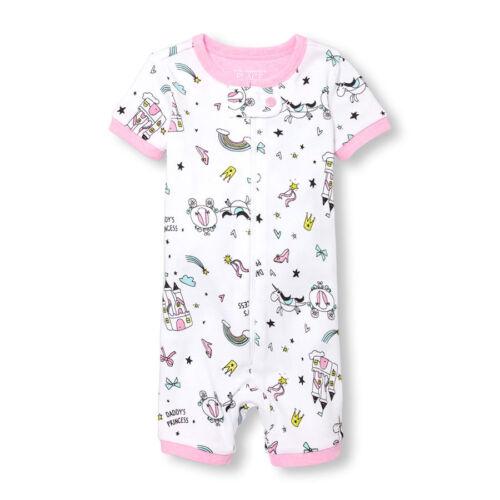 NWT The Childrens Place Unicorn Doodle Girls Short Sleeve Stretchie Pajamas