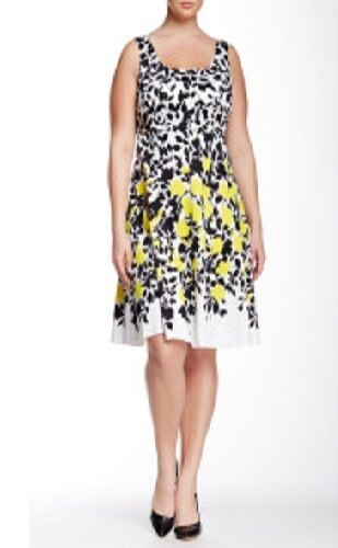 Nine West Yellow Dahl Combo Blooming Vine Stretch Cotton Fit & Flare Dress -