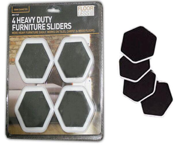 4 Heavy Duty Furniture Moving Sliders Gliders Carpet Tiles