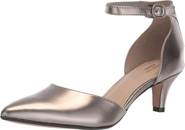 Clarks 26149834: Women's Linvale Edyth Pewter Metallic Leather Pump