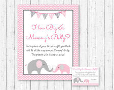 Pink Chevron Elephant How Big Is Mommys Belly Baby Shower Game