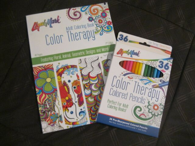 Liqui-Mark Adult Coloring Book Color Therapy 48 Pgs 2nd Edition & 36 Ct  Pencils