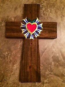 Wall cross reclaimed wood mexican milagros tin sacred for Wooden heart wall decor