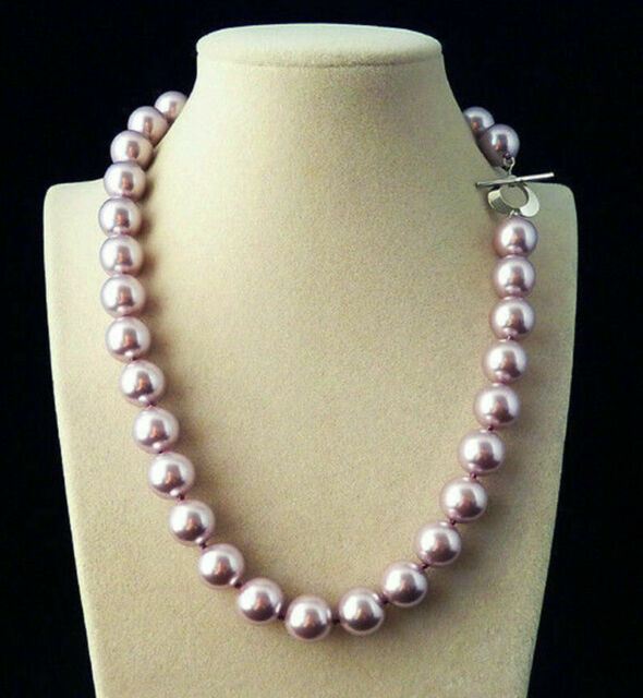 Huge 12mm Genuine Purple South Sea Shell Pearl Round Beads Necklace 18'' AAA