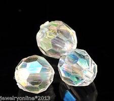 500 Klar Bicone Rhombe Rund Facettiert Acryl Böhmen Perlen Beads 6mm