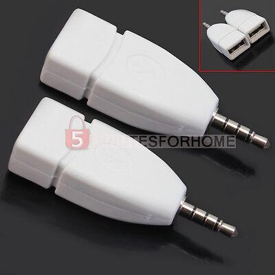 2 Adattatore Connettore Jack 3,5MM AUX Maschio a USB 2.0 Femmina Bianco 5m9e