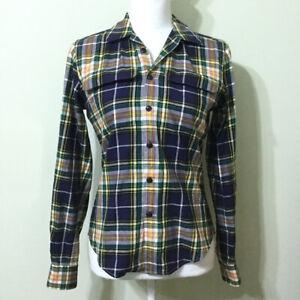 Ralph-Lauren-Plaid-Button-Down-Top-2-Women-039-s-Slim-Fit-Navy-Green-Shirt