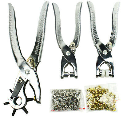 Eyelet Plier Snap Button Grommet Setter Tool Set Kit 3in1 Leather Hole Punch