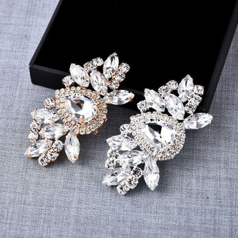 1Pc Rhinestones Crystal Women Shoes Clips DIY Shoe Charms Jewelry Shoes De FH