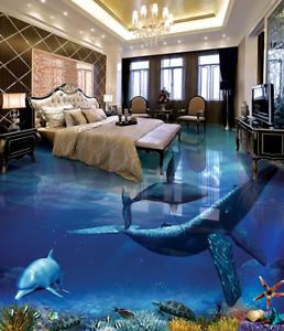 3D Tiburón Delfín Papel Pintado Mural Parojo Impresión de suelo 733 5D AJ Wallpaper Reino Unido Limón