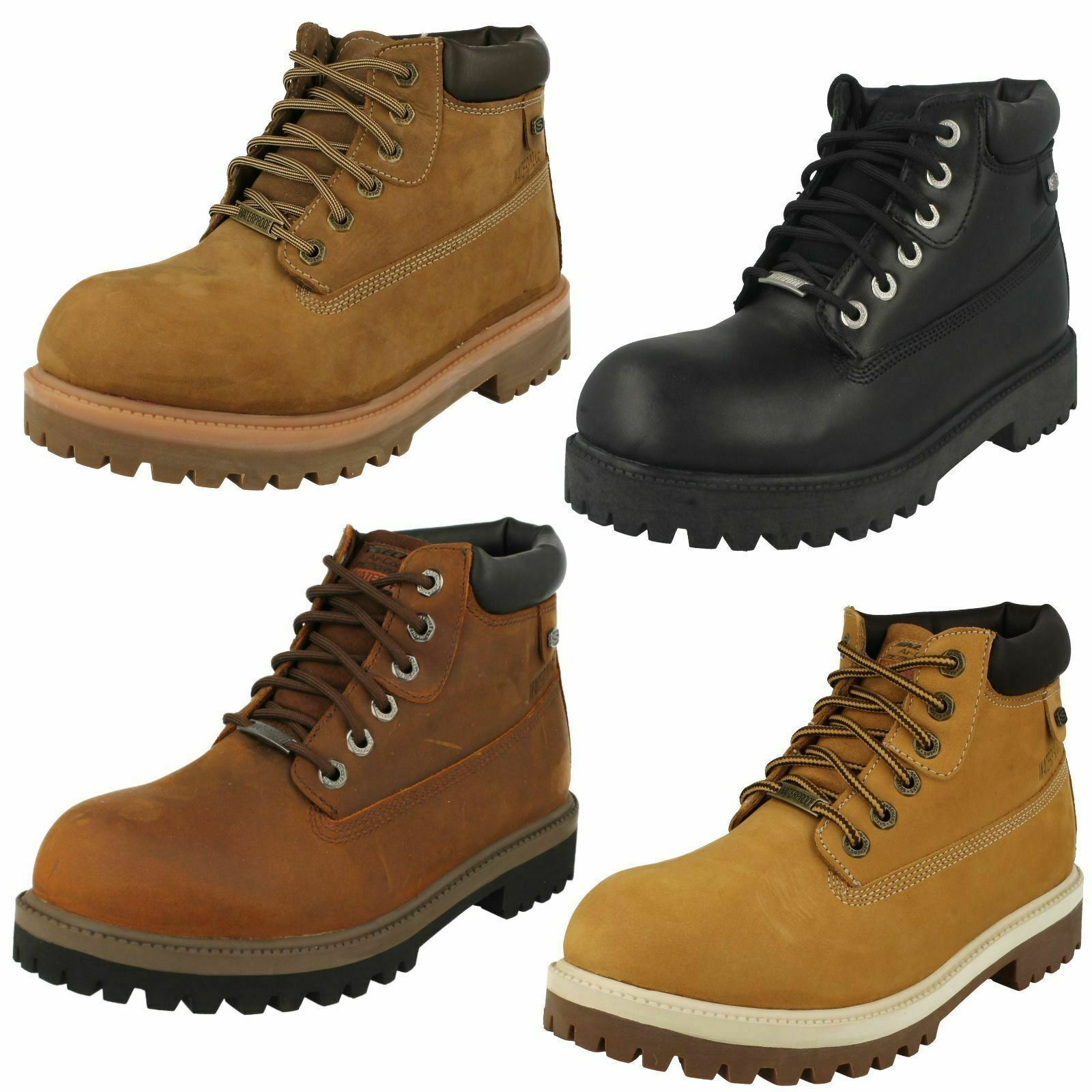 Mens VERDICT   4442 Waterproof Lace Up Leather Ankle Boot By Skechers