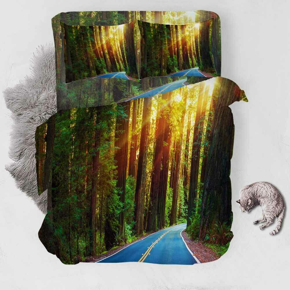 Forest Highway 3D Printing Duvet Quilt Doona Covers Pillow Case Bedding Sets