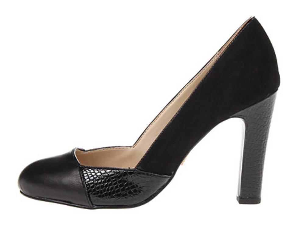 Women's Shoes Anne Klein QENA Heels Pump Slip On Suede Leather Black Combo