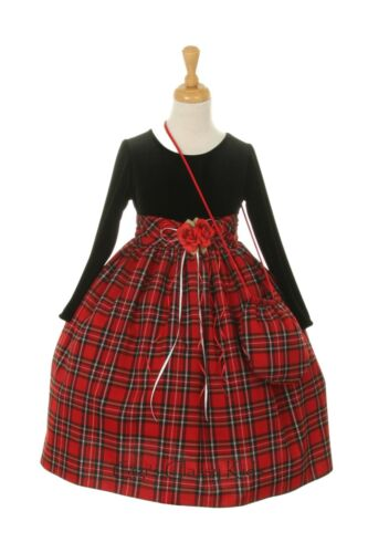 New Flower Girls Red Plaid Dress Christmas Pageant Wedding Easter Party w Bag