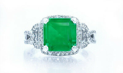 $24500 3.22ct 100% Natural Rich Green Colombian Emerald & .80ct Diamond Ring 14K