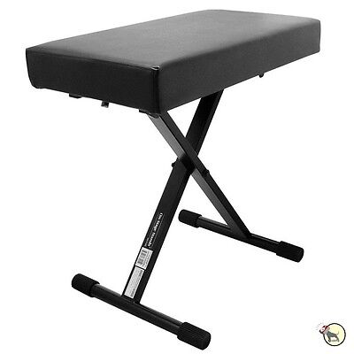 On-Stage Stands KT7800+ Plus Deluxe X-Style Keyboard Piano Bench Seat Black