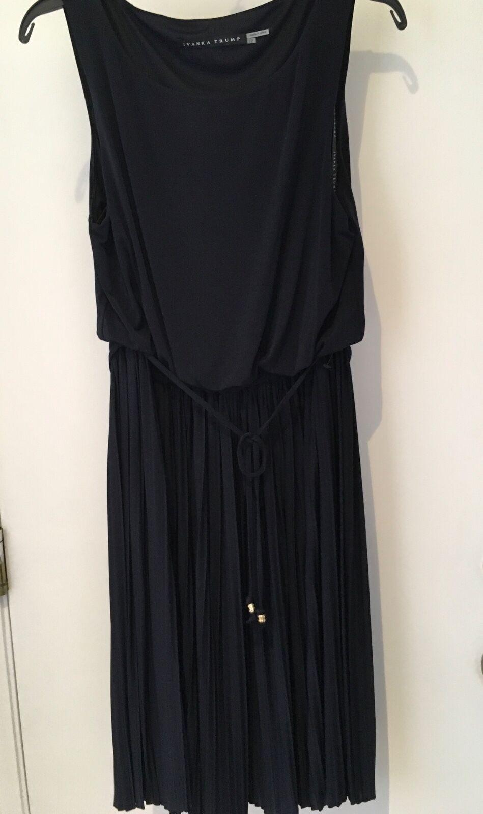 Ivanka Trump Matte Jersey Navy blueE size 10 Sleeveless Tea Dress NWT