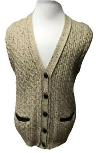 Mens Wool Cashmere Blend Vintage Button Front Cardigan Made In Germany Sz 38 Med