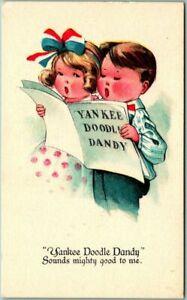Vintage-PATRIOTIC-Postcard-Children-Singing-034-YANKEE-DOODLE-DANDY-034-c1910s-Unused