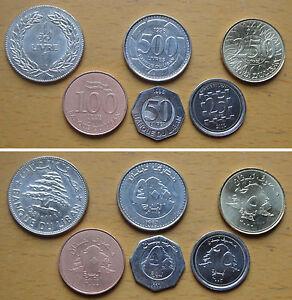 Image Is Loading Lebanon Coins Set Of 6 Pieces Au Unc