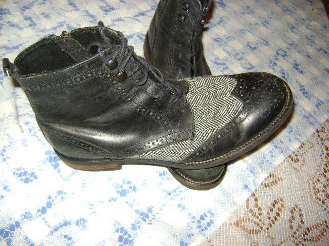 BAR Bota De Cuero Negro Para Hombres III Cremallera Casual Espiga Para Hombre