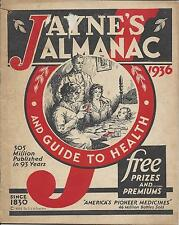 JAYNE'S 1936 ALMANAC AND GUIDE TO HEALTH,AMERICA'S PIONEER MEDICINES SINCE 1830