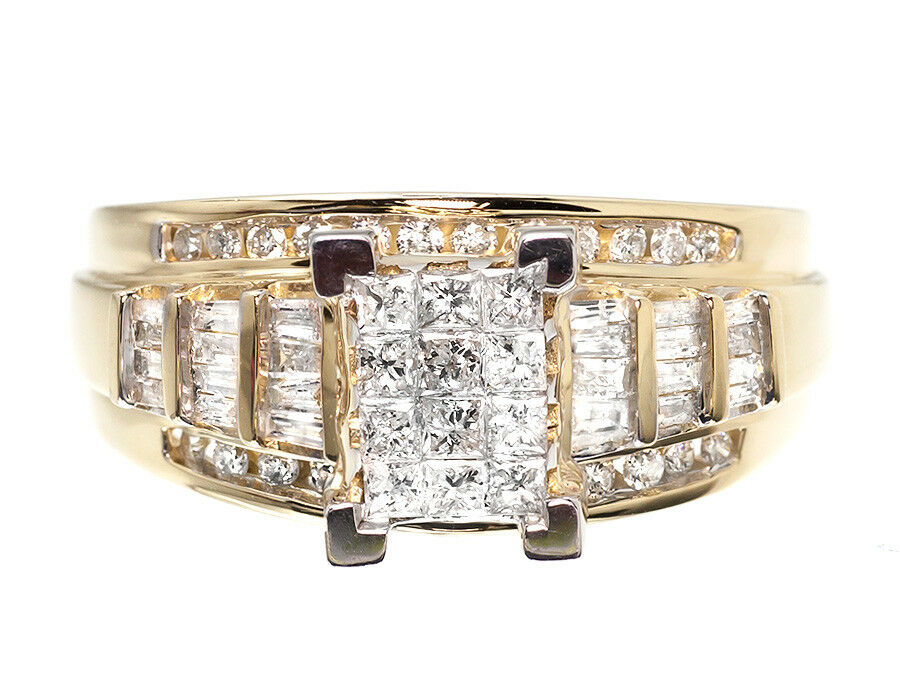10k Yellow gold Ladies Invisible Princess Diamond Engagement Wedding Ring 0.90ct