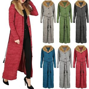 Long Fur Cardigan Womens Button Belt String Cape Ladies Trim Sleeve YY7wqC
