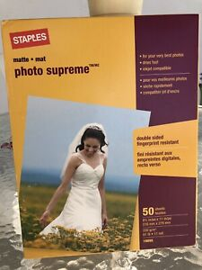 """50//Pack Lot 2 Staples Photo Supreme Paper 8 1//2/"""" x 11/"""" Double Sided Matte"""