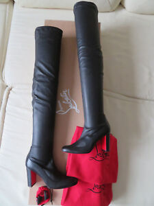 15d1b478e25c NIB Christian Louboutin Kiss Me Gena 85 OTK Over Knee Black Leather ...
