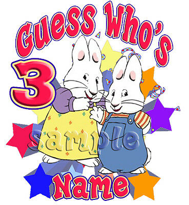 New Max and Ruby Personalized T Shirt Party Favor Birthday Gift present