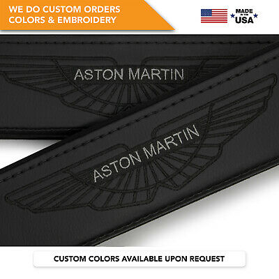 Car Seat Belt Leather Shoulder Pads Covers Aston Martin Embroidery Black