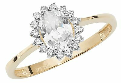 Cluster Engagement Ring Yellow Gold Ladies 9 Carat Gold Dress Ring Size M-r