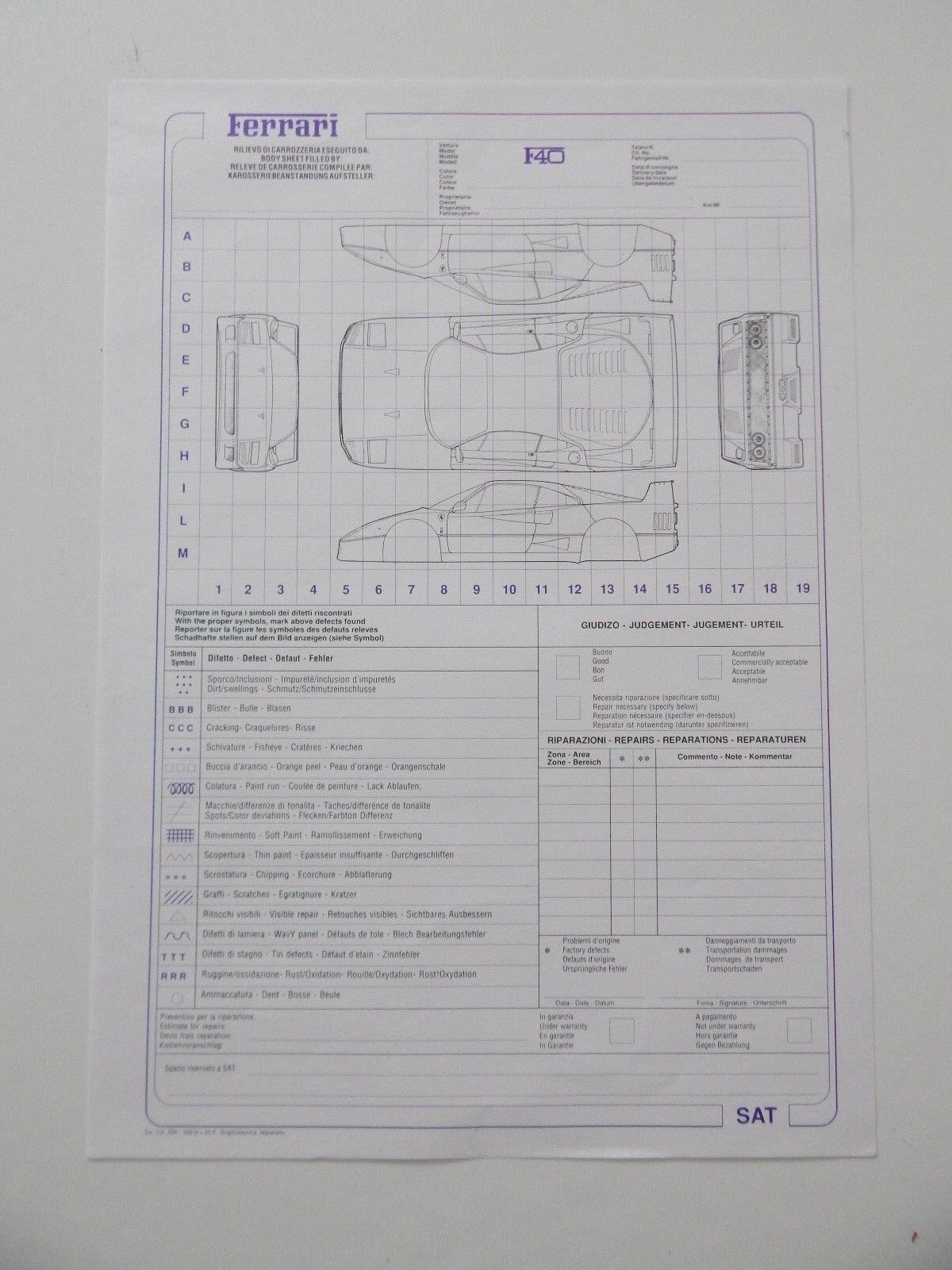 Cool F40 Repair Sheet Manual Handbook Ferrari Njrhkn711 Other Car Manuals Wiring Digital Resources Ntnesshebarightsorg
