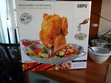 Gefu Hähnchengriller und Gemüse-Wok Edelstahl Hähnchen Grill Wok Grillkorb