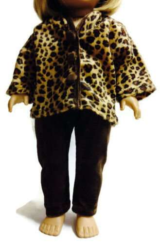 Brown Leopard Print Jacket /& Brown Pants for 18 inch American Girl Doll Clothes