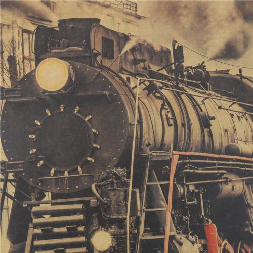 Vintage Steam Train Nostalgic Vintage Kraft Paper Poster Decoration WalODUS