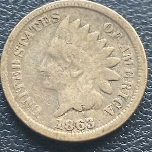 1863-Indian-Head-Cent-1c-One-Penny-Circulated-23628