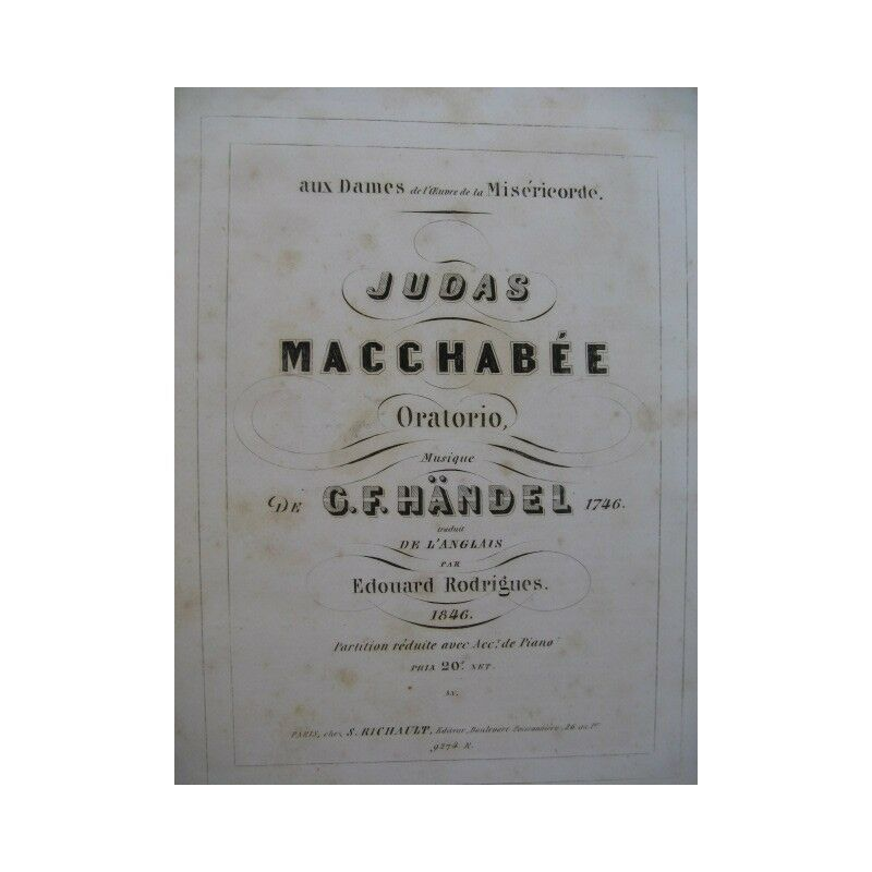 HAENDEL G. F. Judas Macchabée Oratorio Chant Piano ca1845 partition sheet music