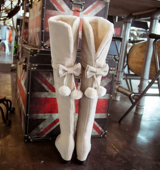 Sweets Suede Women Over Knee Boots Hidden Heels Princess Beige shoes Retro 02